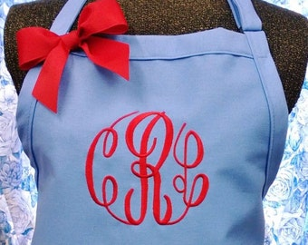 Apron Light Blue with Red Circle Monogram Personalized Gift