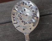 I Love You To The Moon and Back hand Stamped Spoon with Stars Gumbo Spoon swirl pattern with hearts