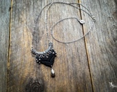Macrame boho necklace tribal chic pendant long chain silver tone bohemian jewelry by Creations Mariposa