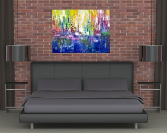 XLarge Huge Abstract Acrylic Landscape Colorful Painting Modern Canvas Art Vivid Surreal Water Contemporary Dining Room Wall Decor JMichael