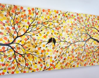 Love Birds in Tree Painting Lovebirds Autumn Fall Wall Art Dining Room Over the Bed Couch Decor Silhouette Colorful Canvas Art Dot Painting