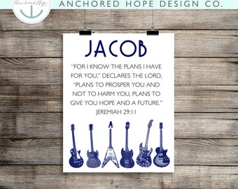 "Jeremiah 29:11 ""For I know the plans I have for you..."" Guitar Room - Kids Room Print - Home Decor Print - PIY"