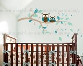 Owl and Branch Wall Decal, Owls on a Branch Wall Decal, Owl Branch for Baby Nursery for Kids or Childrens Room 061