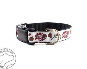 """Roses and a Box of Chocolates Valentine Dog Collar - 1"""" (25mm) Wide - Martingale or Quick Release - Choice of collar style and size"""