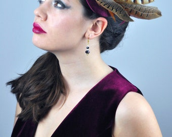 Feather Fascinator in Plum Silk and Copper Pheasant Feathers with Rhinestone Detail
