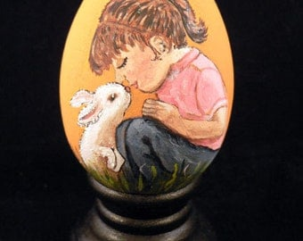 Hand Painted Easter Egg, Child and Bunny