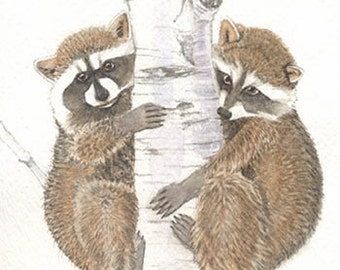 Raccoon painting 5x7 print from original watercolor painting, animals, wall art, art & collectibles, art, earthspalette