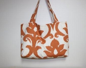 Ikat Orange/mustard print on beige Shoulder Bag, Medium Bag, Large Bags, Shopping Bag