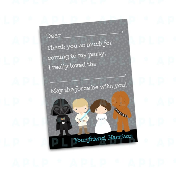 Star Wars Thank you Notes - Thank You Cards - New Star Wars - Party Supplies