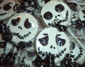 12 Jack Skellington Nightmare Before Christmas Faces of Jack White Chocolate Candy Lollipop Party Favors