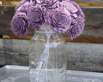 "Set of 12 Stemmed or Unstemmed Sola Flowers Purple Light Purple Wisteria  Sola Wood Flowers Zinnia DIY Wedding Bouquet 2"""