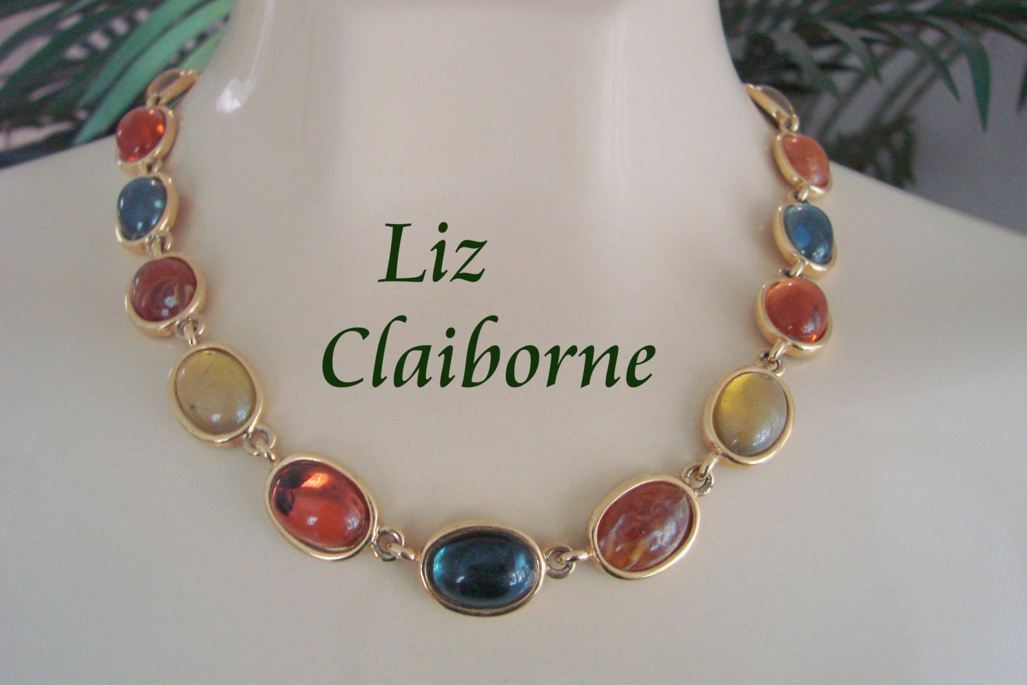 Colorful Liz Claiborne Necklace Faux Agate Cabochon Lucite