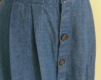 Button Front Denim Blue Jean Pleat and Gathered Skirt