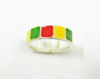 Size 5, 5.5, 6.5, 7, 9.5 Traffic Light Ring, Mosaic Ring, Brick Ring, Red Yellow Green Ring, Simple Ring, Women Ring, Men Ring, Unique Ring