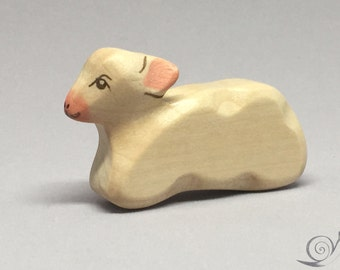 Toy Lamb Sheep wooden white grey colourful - lying  Size: 8,0 x 7,0 x 2,0 cm (bxhxs)  approx. 29,5 gr.