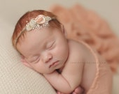 ORGANIC COLLECTION ~ Newborn Tieback, Newborn Headband, Newborn Photo Prop, Newborn Halo, Flower Crown, Photography Prop, Natural, Pink
