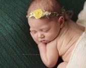 Newborn Photo Prop - Newborn Headband: Newborn Tieback, Newborn Flower Crown, Newborn Halo, Organic Photography Props, Moss, Yellow