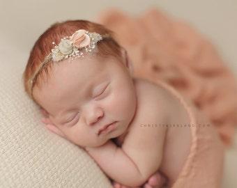 Newborn Photo Prop - Newborn Headband: Newborn Tieback, Newborn Flower Crown, Newborn Halo, Organic Photography Props, Pink, Peach, Brown