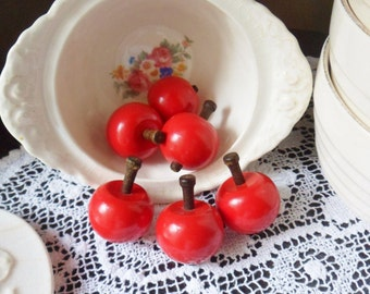 Six Tiny Wooden Apples, Decorative Red Apples with Wooden Stems