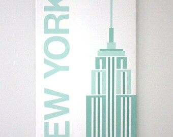 """New York - 12"""" x 24"""" Handpainted on Canvas in Mint Green"""