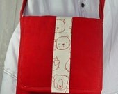 Red Messenger Bag Red Cross Body Bag with animal print accents bag again