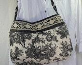Medium Purse Shoulder Bag with Vintage Lace Trim and Upcycled Black Leather Shoulder Purse Bag Again