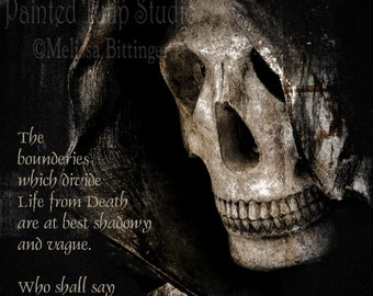 Edgar Allan Poe Quote and the Grim Reaper Angel of Death Spooky Dark Goth  Mortuary Art Cemetery Graveyard Photographic Art Print