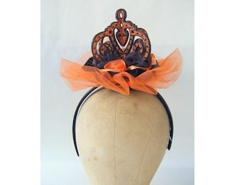 Orange Black Crown Headpiece Fascinator Edwardian Victorian Masquerade Lolita Steampunk Showgirl Burlesque Costume Cosplay Princess Fairy