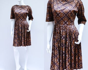 SALE Authentic Vintage 1970s Geometric Patterned 3/4 Sleeve Dress Small UK 8 10