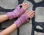 Pink Hand knitted Mittens Cozy Fingerless Gloves Mint, Fingerless Gloves, button Gloves, Gloves Teens, Gloves Mittens, Mitts, Winter,