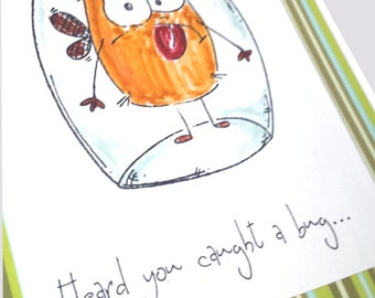 Get well soon card, Funny get well, feel better soon, cute get well card, Heard you caught a bug