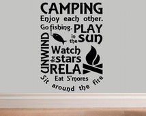 Camping wall decal WD subway style camp rules man cave decal living room outdoor home decor decal for men den decor camping decal camp decor
