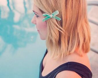 Aqua Daphne Petite bow clips - Set of 2 - Pigtail bows - Mini Velvet hair clip set - dainty and Dapper -