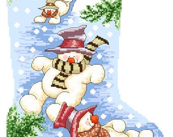 Snowmen Christmas Stocking Cross Stitch Pattern