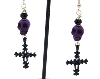 Dangle Beaded Earrings, Skull Earrings, Howlite Earrings, Dia de los Muertos Earrings, Day of the Dead, Cross Earrings, Purple Earrings