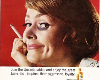 Vintage Original Magazine Print Advertisement - Wall Art - Wall Decor - Man Room - Tareyton - 1964 - Fine Tobacco - Cigarette - Fight