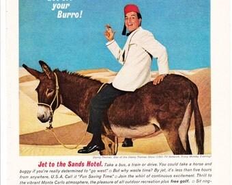 Vintage Original Magazine Print Advertisement - Wall Art - Wall Decor - Man Room - Sands - 1964 - Danny Thomas - Las Vegas - Lenny Bruce