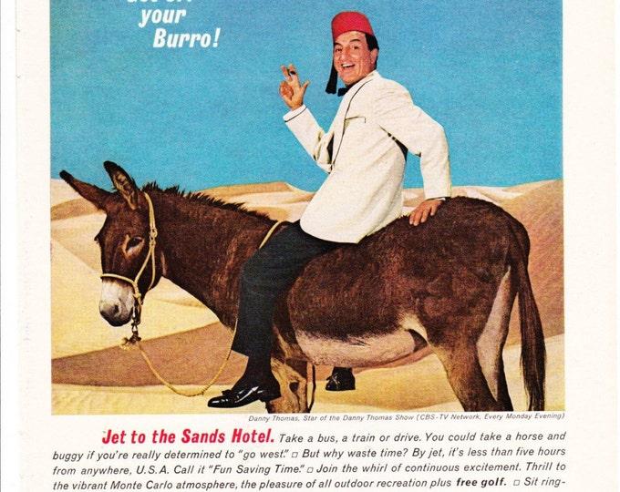 Vintage Original Magazine Print Art, Print Advertisement, Wall Art, Wall Decor, Sands, 1964, Danny Thomas, Las Vegas, Lenny Bruce