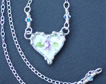 Necklace, Broken China Jewelry, Broken China Necklace, Petite Heart Pendant, Purple Violet Floral China, Sterling Silver, Soldered Jewelry