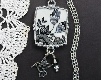 Necklace, Broken China Jewelry, Broken China Necklace, Black Transferware, Sterling Silver, Hummingbird Charm