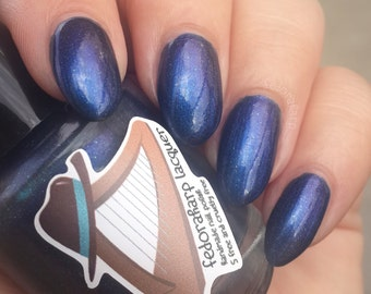 Mashiv Haruach (mini size & full size) Blue/indigo duochrome with holo flash indie polish by Fedoraharp Lacquer
