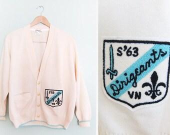 vintage cardigan / grandpa cardigan / varsity jacket / 1960s letterman patch cardigan S-M