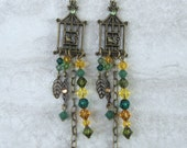 Handmade brass birdcage earrings with yellow/green/topaz Swarovski crystals, ready to ship, gifts for women, bird jewelry, made in Montana
