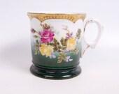 Vintage Shaving Mug Hand Painted Roses Coffee Cup Raised Design Toiletry Cup Victorian Decor Bathroom Decor