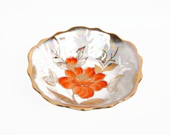 Vintage Poppy Serving Bowl Lusterware Encrusted Gold Iridescent Brushed Gold Scalloped Edge