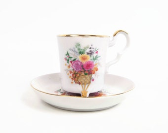 Vintage Bareuther Waldsassen Bavaria Germany Teacup Saucer Floral Basket Fine Bone China Demitasse Set