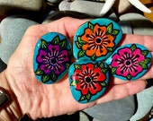 Boho  garden magnets / 4 magnets set / fridge magnets / painted rocks / painted stones / art on rocks / rock garden magnets /art that sticks