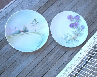 2 Handpainted Plates - Austrian Hand Painted Plate with Purple Flowers - Pastoral/Country Scene Plate - Vintage Cottage Chic Plates