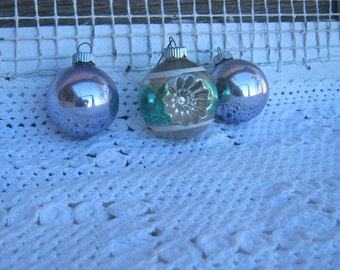 Box of 12 Vintage Shiny Brite Tree Ornaments - Pale Purple, Hot Pink, Gold, Green Indent, Silver & Sea Green Glass Christmas Ornaments