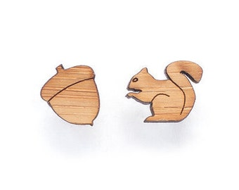 Squirrel and nut stud earrings - cute earring studs, laser cut wooden jewellery, squirrel studs
